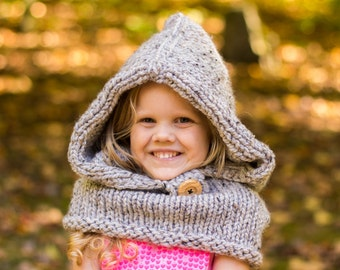 Bear Cowl, Hooded Cowl, Hooded Bear Cowl, Bear Hood, Knitted Bear Cowl, Knitted Hooded Bear Cowl Toddler, Child, Adult Sizes, Made to Order