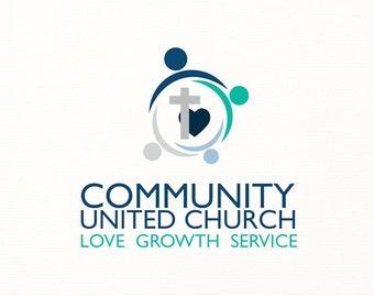 church logo people cross heart christian religious religion - Logo Design #C6