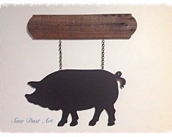 Chalk board pig sign