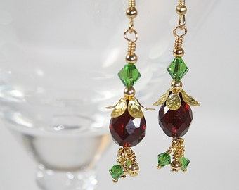 Red Green Dangle Earrings Christmas Dangle Earrings Handcrafted Earrings Gift Ideas For Her Gifts Under 20 Dollars