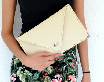 Beige - nude leather clutch / Handmade leather bag / High quality leather