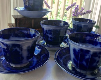 Flow Blue Handleless Cup Podmore Walker Wedgwood Pearl  Stone Ware Temple Handleless Cups and Saucers 1850s