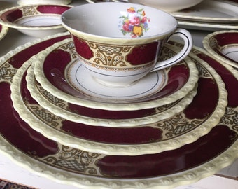 Myott Staffordshire Persian Rose Service for 8