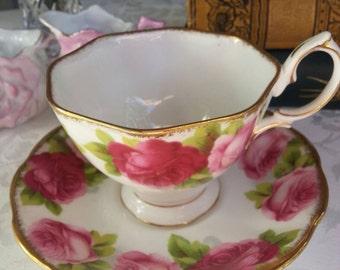 Royal Albert Old English Rose Teacup and Saucer Set