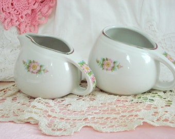 Vintage Sugar and Creamer Hall's Kitchenware Pink Rose White Shabby Cottage Chic Milk and Sugar