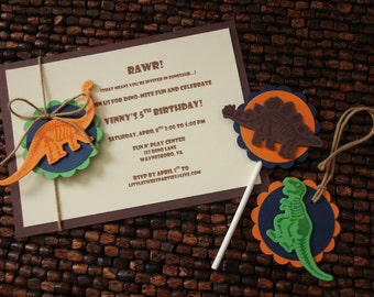 Dinosaur Fossil Birthday Party Package - 10 Invitations - 10 cupcake toppers - 10 tags