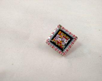 Micro Mosaic Square Pin, Gold Tone, Italy