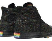 High Top Black Mens Ladies Confetti Converse Rainbow Pride LGBTQ GlassSlippers Swarovski Crystal Chuck Taylor Bling All Star Sneakers Shoes