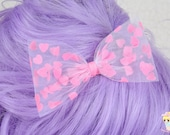 Ready To Ship, Valentines Day Bow, Pink heart hair bow, fairy kei, Kawaii Tulle Hair Bow, Pastel Hair Clip, Pastel Goth, hair bow for girls