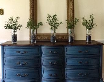 SOLD  Vintage French Provincial Dresser Painted Annie Sloan Aubusson Blue Farmhouse Cottage Style