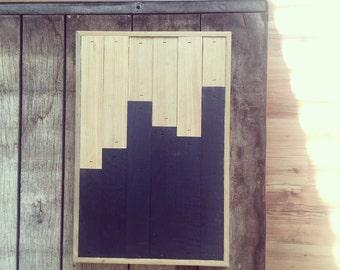 Geometric pattern wall panel art reclaimed wood
