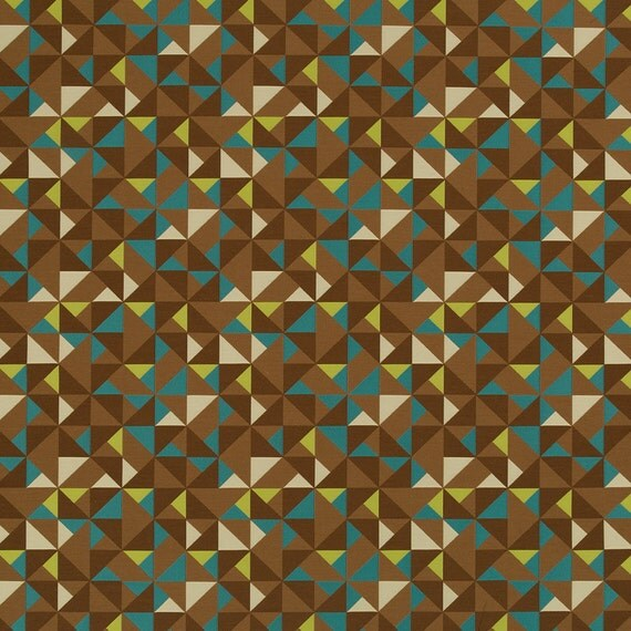 Teal Brown Geometric Upholstery Fabric Teal By Popdecorfabrics