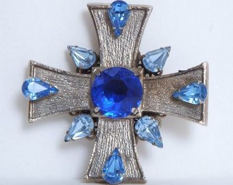 Vintage 60's Silver Blue Rhinestone Cross by LaRoco