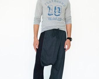 NO.194 Dark Blue and Black Cotton Jersey Casual Drop Crotch Pants, Two Tone Harem Trousers, Unisex Pants