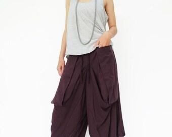 NO.185 Plum Cotton Jersey Trendy Harem Pants, Capri Drop Crotch Trousers, Unisex Pants