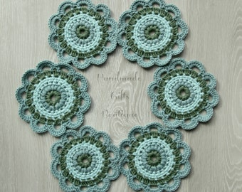 Crochet mandala coasters. Set of 6.