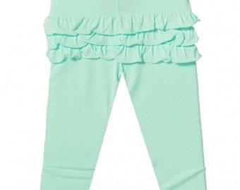 Ruffle Bum Leggings Baby and toddler ruffle bum pants - mint green