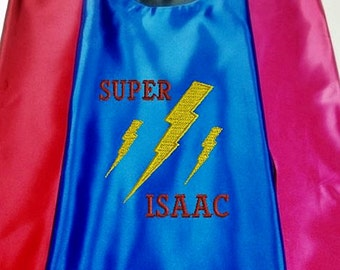 Superhero cape  Kid's  cape, Super Lightning Bolt cape Custom Embroidered   Personalized