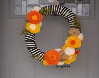 Fall wreath - Autumn wreath - striped wreath - felt flower wreath
