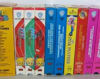 Vintage LOONEY TUNES VHS Videos Daffy Duck, Porky Pig, Elmer Fudd, Pink Panther, Bugs Bunny, Tweety Bird, Sylvester, Mel Blanc, Tom & Jerry