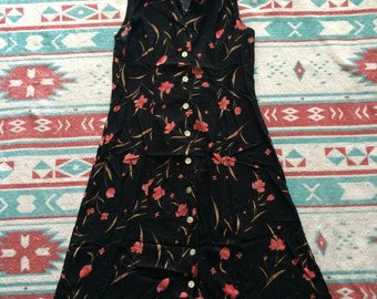 Vintage Floral Print Sleeveless Summer Dress