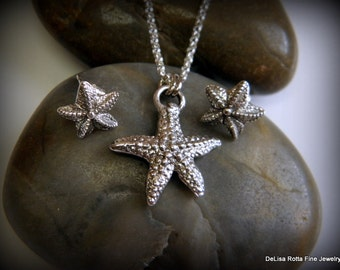 Recycled Silver Fine Silver, Starfish Pendant and Post Earring Set, Gift, Free US Shipping, Eco Friendly, Sterling Silver Chain