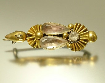 Antique/ estate Georgian, 1700s/ 1800s, gilt metal/ pinchbeck and foil backed paste brooch pin - jewelry jewellery