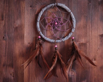 Dream Catcher - Pure Nature - Mobile with Brown Frame and Pure Brown Feathers - Nursery Mobile, Traditional Dreamcatcher