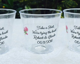 50 1oz. Personalized Plastic Shot Cups for Bar at Wedding or any Party or Event, CLEAR Decoration, Disposable Favors - Looks Amazing!