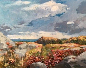 """Acadia National Park,  autumn on Cadillac  Mountain, Maine  Large, 24"""" X 30"""" original landsacape painting, oil, by Adrienne Kernan LaVallee"""