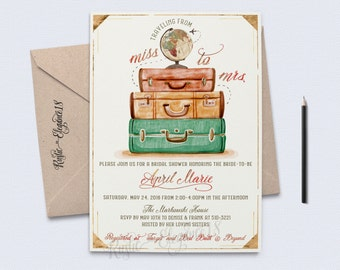 Traveling From Miss To Mrs Bridal Shower Invite/Vintage Bridal Shower Invitations/Gold Foil/Globe Travel Theme Party/ Vintage Travel Shower/