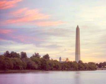 Washington Monument Art - Washington DC Photography - Washington Monument Photo - DC Photography - Vintage Sunrise, Purple, Red