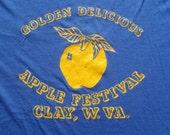 Vintage 1980s Golden Apple Festival Clay West Virginia Blue T-Shirt L Sandy 50 50 Cotton Poly Blend TEMPLATE