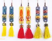Bar earrings, tassel earrings, fringe, seed beads dangle, trend jewelry, beaded jewelry, popular items, best seller item, CHOOSE YOU COLOR