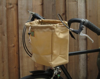 Large tan handlebar bag