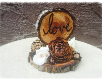 Rustic Wedding Cake Topper - Wooden Wedding Cake Topper - Love Cake Topper - Rustic Wedding