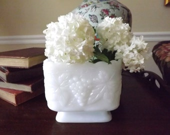 Vintage Milkglass Square Footed Compote,Bowl Scallop Top,Wedding Decor,Shower Decor,Party Decor,Bridal Shower, Housewarming Gift