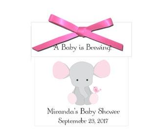 Tea Favors - personalized pink elephant baby girl tea favors, baby shower favors - set of 12 complete tea favors