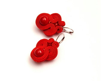 Red dangle earrings soutache. Red bead earrings unique. Gift for her, Valentines Day. Red retro earrings. Soutache red jewelry. Unique red.