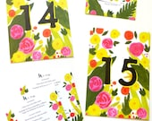 Hand painted Clavel Mexican custom wedding table numbers, Menu, and Wedding Map of San MIguel