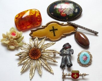 BIG lot of 10 Vintage Pins/Brooches: Two Silver, One Russian Lacquer, Antique Cross, Agate, Marcasite, Pressed Amber, Sarah Coventry