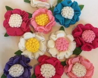 10 Large felt flowers, felt flowers, crafting, hair accessories