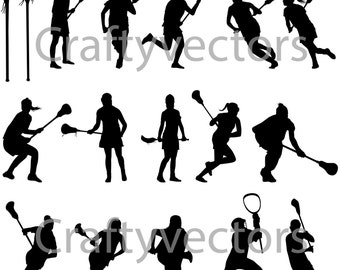 Lacrosse Womens Silhouettes Vector File SVG
