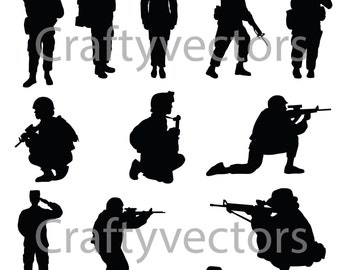 Soldiers Silhouettes -Female - Vector File SVG