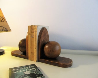 Vintage Dutch Art Deco Pair of Wooden Bookends Amsterdam School Antique Sphere Globe Wood Book Ends 1920s