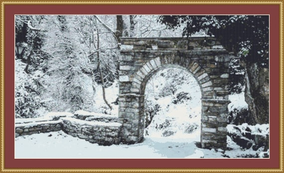 The Arch In Winter Cross Stitch Pattern /Digital PDF Files /Instant downloadable