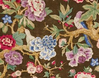 SCHUMACHER ENGLISH COUNTRY Cabbage Rose Blooms & Birds Linen Fabric 10 Yards Brown Blue Green Crimson