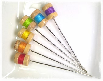 Mini Thread Spool Pin Toppers, Rainbow Set of 6 - PT55