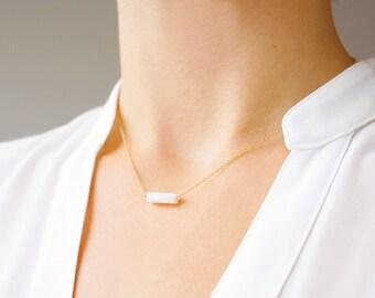White Stone Bar Necklace (14k gold filled, minimal, semi precious gemstone bar, minimalist, simple, petite, layering necklace, geometric)