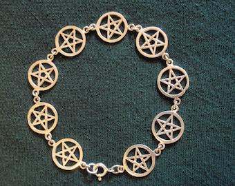 Nine PENTACLE PENTAGRAM Sterling Silver 925 Earthy Pagan Link Bracelet
